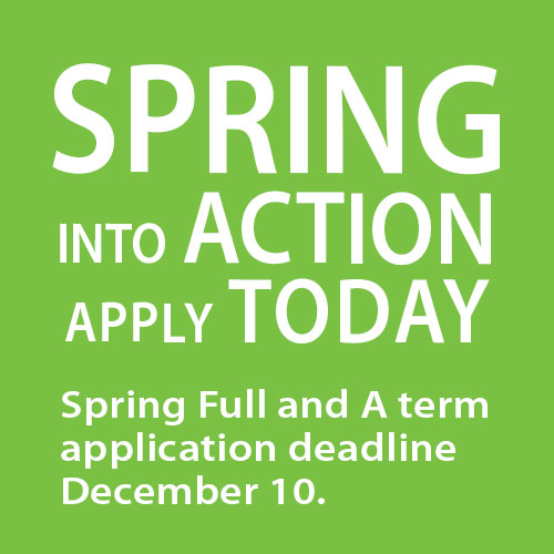 apply now for Spring 2022