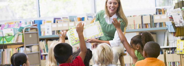 Students in class, teacher