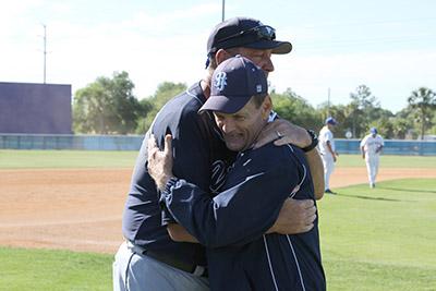Coach Ross Jones and former coach John Tindall