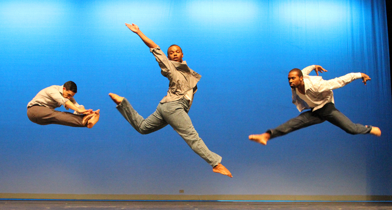 leaping, dance students