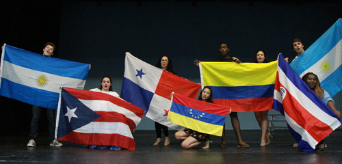 musical theatre students with flags