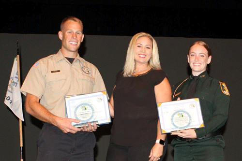2018 June award winners  Ryan Dixon and Laura Kleinhans with instructor, center, Michelle Lima.