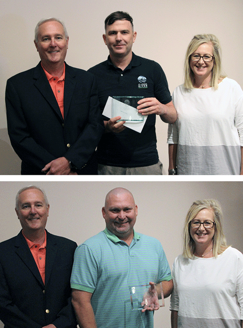 Top: President Joe Pickens, Math instructor Thomas Flannagan, VP Caroline Tingle. Bottom: President Joe Pickens, Management instructor Aaron Knowles, VP Caroline Tingle.