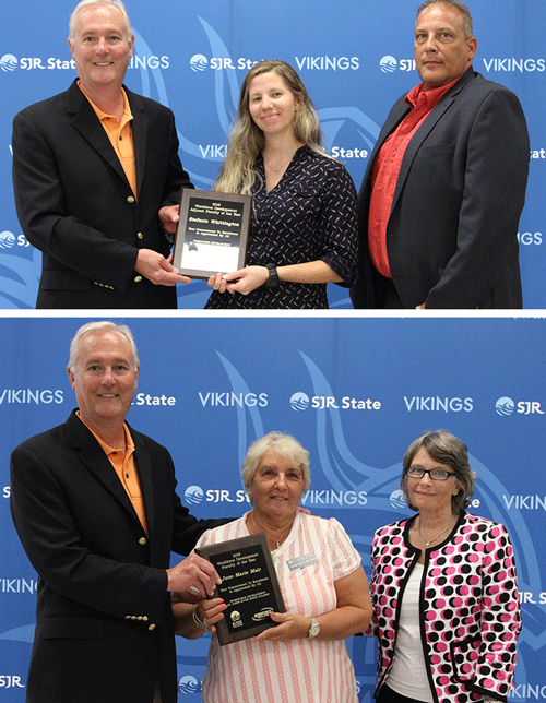 Top: President Joe Pickens, J.D., Criminal justice instructor Stefanie Whittington, and Dean of Criminal Justice and Public Safety Jeff Lee, Ph.D. . Bottom: President Joe Pickens, J.D., Nursing instructor June-Marie Mair, and Dean of Nursing Diane Pagano, D.S.N..