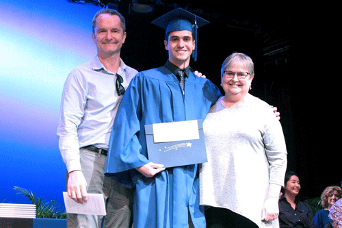 instructors Kevin Kelly and Patricia Crotty present Matias De La Flor with Outstanding Graduate in the Performing Arts award
