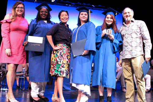 instructors Tiffany Jordan, Emily Schafer and Robert O'Leary recognize Uvenka Jean-Baptiste, Sarah Cox and Brittany Posso as Outstanding Graduates in Design and Technical Theatre
