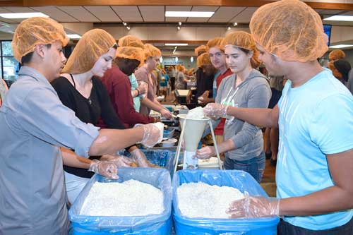 Over 100 volunteers representing SJR State attended the first portion of the event, packaging 15,000 meals.