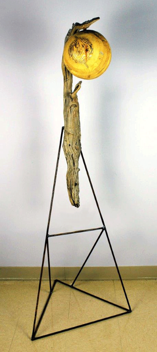 """""""C2,"""" a wood, steel and gold leaf piece by Catt Pecknold"""