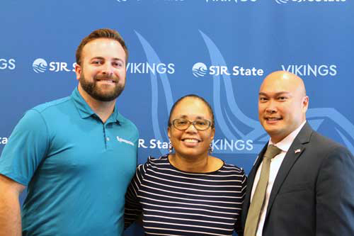Pictured L-R: Former SJR State RMI student and Thompson Baker Commercial Lines Account Manager Davis Alexander, SJR State Business Professor Antoinette Richardson, and SJR State Director of Business Education Joel Abo