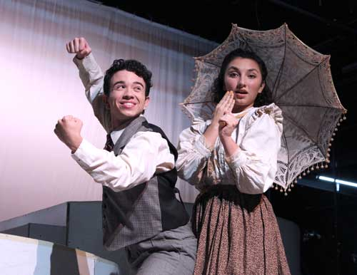 "FloArts students Alberto Blanco and Ashley Leake rehearse for ""Ragtime the Musical"""