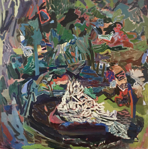 Firepit in the woods, painting