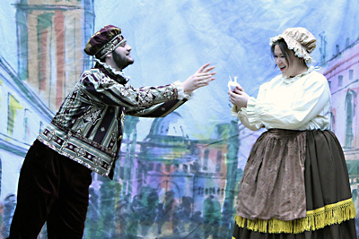 """Florida School of the Arts students Hayley Smith and Vincent Ward rehearse a scene from the comedy """"The Servant of Two Masters."""