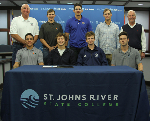 First row, from left:  Michael Rosario, Stephen Halstead, August Haymaker and Nick Tripp. Second row from left, Jones, Jordan Dubberly, Franco Aleman, Jackson Spiller and Pickens.