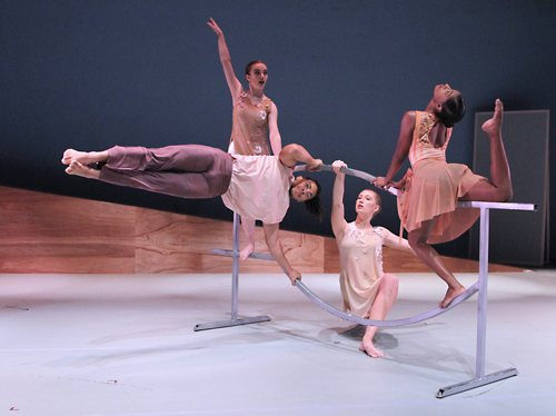 """Florida School of the Arts students Paige Lane, Jahleel Christian, Max Balch and Amaani Grant practice for """"An Evening of Dance: Surfaces"""""""