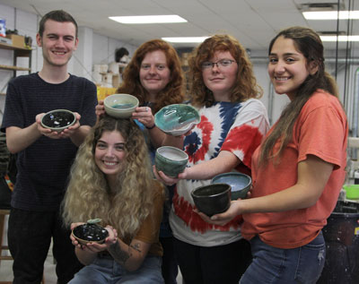 Florida School of the Arts students Christopher Wilken, Elizabeth James, Kyla Hardy, Shonda Hardy and Yasmeen Berrios show their creations in preparation for the annual Empty Bowls project.  The event is scheduled for Friday, October 18, from 5:30 – 8:00 p.m., at Beef 'O' Brady's. Tickets are $15 and can be purchased at the door.