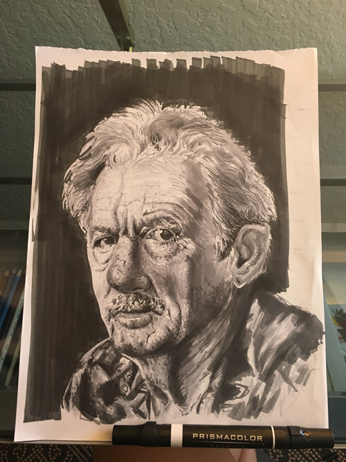 black and white sketch of older white male