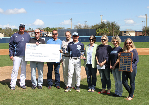 From left are Head Baseball Coach Ross Jones, SJR State President Joe Pickens, Marty Malloy, John Tindall, Chase Malloy, Carol Pickens, Vice President for Development and Governmental Affairs Caroline Tingle,  Lacy Malloy, and Director of Fundraising and Alumni Engagement Kate Adornetto